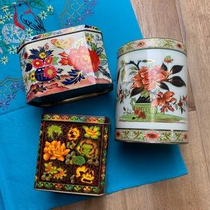Set of 3 vintage Daher England floral tins candy